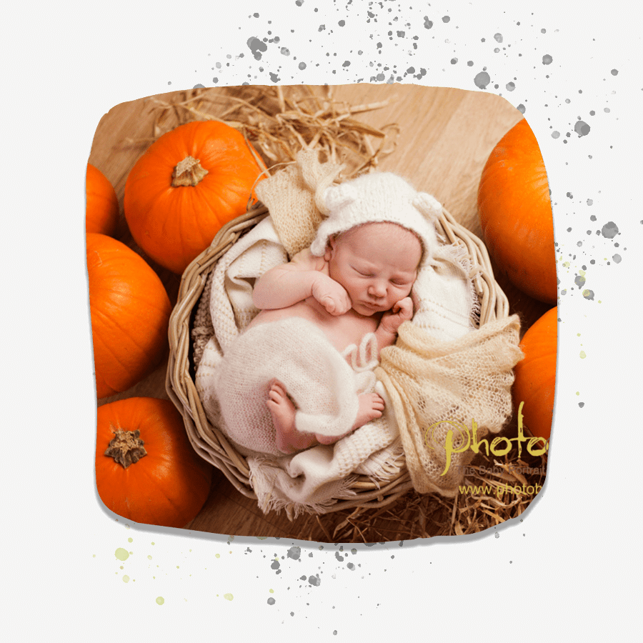 newborn lying in basket surrounded by pumpkins.