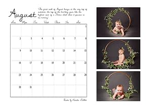 calendar page layout featuring three baby portraits.