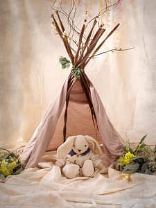 Mr bunny sits in the teepee