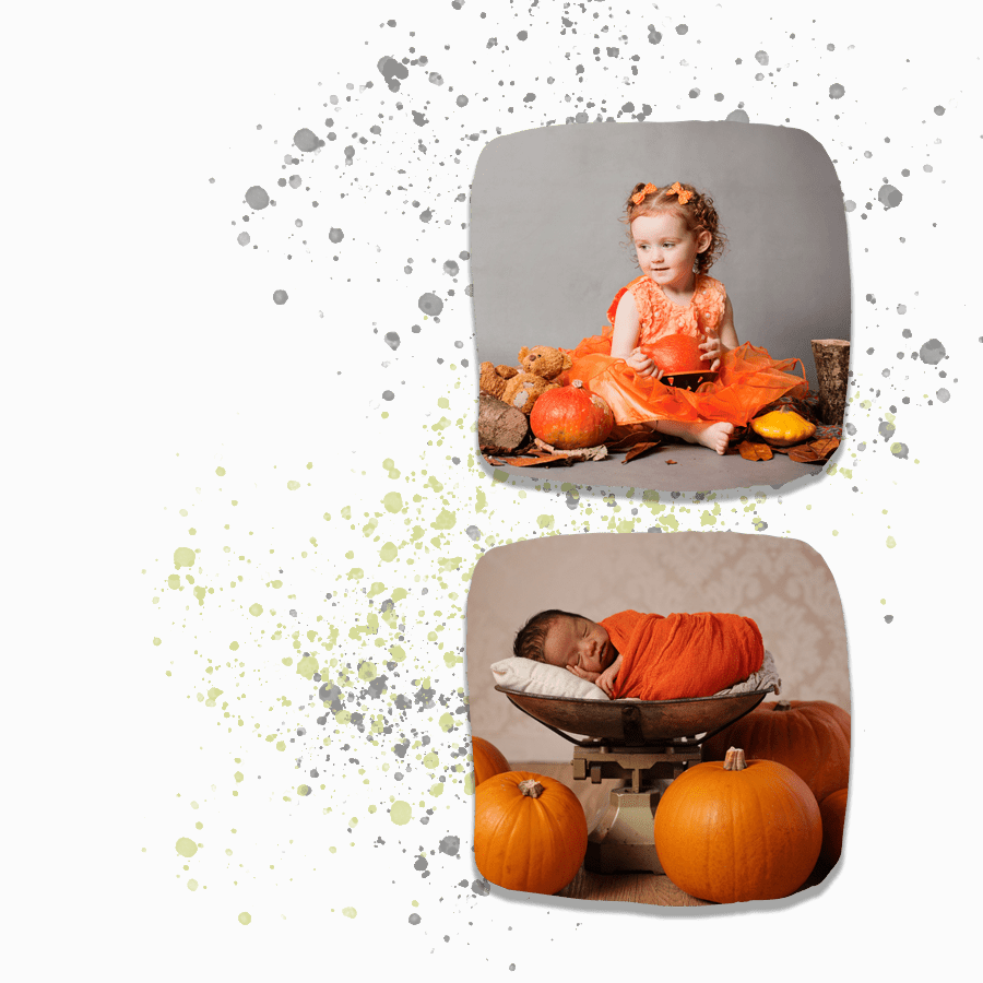 two pictures of children in amongst pumpkins.