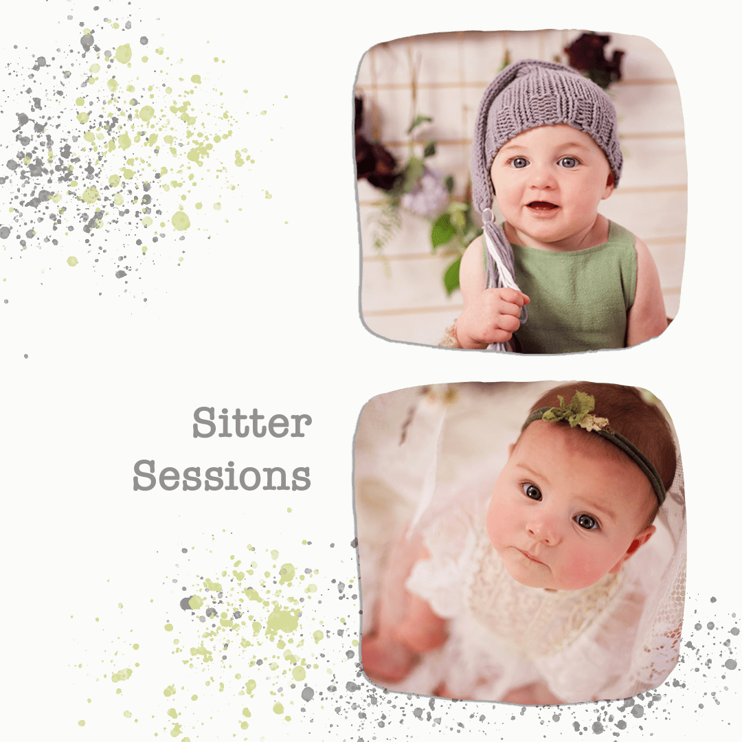two portraits of six month old babies.