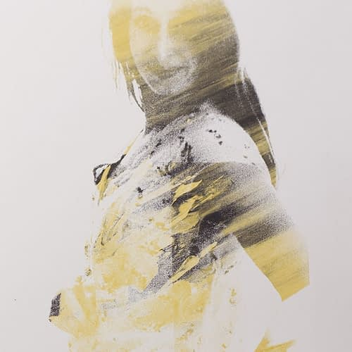 Screenprint in black, white and gold created from photo portrait of pregnant mother at PhotoBaby Lancaster maternity studio.